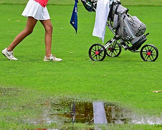 BOARDMAN, OHIO - JUNE 18, 2019: Avi Gill, of Northville, Michigan, walks her cart to the green on the tenth hole, Tuesday afternoon at Mill Creek Golf Course during he first round of the American Junior Golf Association Tournament. DAVID DERMER | THE VINDICATOR