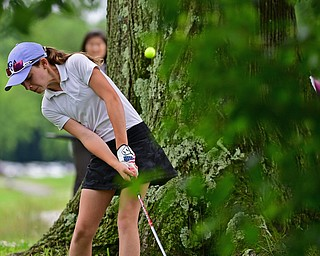 BOARDMAN, OHIO - JUNE 18, 2019: Ellison Lundquist, of Furlong, Pennsylvania, hits from the rough on the tenth hole, Tuesday afternoon at Mill Creek Golf Course during he first round of the American Junior Golf Association Tournament. DAVID DERMER | THE VINDICATOR