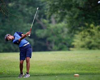 Dhruv Kumar, of Novi, Michigan, drives the ball during the second round of the Mahoning Valley Hospital Foundation Junior All-Star AJGA tournament at Mill Creek Golf Course on Wednesday. EMILY MATTHEWS | THE VINDICATOR