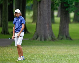 Maverick Conaway, of Tipton, Indiana, reacts after hitting the ball during the second round of the Mahoning Valley Hospital Foundation Junior All-Star AJGA tournament at Mill Creek Golf Course on Wednesday. EMILY MATTHEWS | THE VINDICATOR