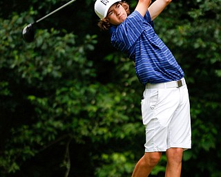 Maverick Conaway, of Tipton, Indiana, hits the ball during the second round of the Mahoning Valley Hospital Foundation Junior All-Star AJGA tournament at Mill Creek Golf Course on Wednesday. EMILY MATTHEWS | THE VINDICATOR