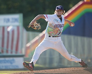 Scrappers' Matt Turner pitches during their game against the Doubledays at Eastwood Field on Friday night. EMILY MATTHEWS | THE VINDICATOR
