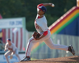 Doubledays' Niomar Gomez pitches against the Scrappers at Eastwood Field on Friday night. EMILY MATTHEWS | THE VINDICATOR
