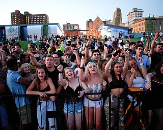 The crowd cheers as Gucci Mane prepares to go on stage at the Youngstown Foundation Amphitheatre on Saturday. EMILY MATTHEWS | THE VINDICATOR
