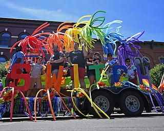 WARREN, OHIO - JUNE 22, 2019: A parade float makes it way around courthouse square during the Pride parade around Courthouse square, Saturday afternoon during the Pride Festival. DAVID DERMER   THE VINDICATOR