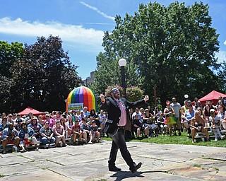 WARREN, OHIO - JUNE 22, 2019: Matt Cockrin, of Cleveland, performs, Saturday afternoon during the Pride Festival. DAVID DERMER   THE VINDICATOR