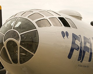 ROBERT K.YOSAY  | THE VINDICATOR..The B-29 Superfortess bomber - FIFI- is at the youngstown Warren Regional airport for tours and fly overs.  B-29 Bombers is best known for dropping the two bombs on Japan thus ending World War II.