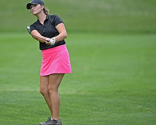 BOARDMAN, OHIO - JUNE 25, 2019: Madison Horvath, of New Middletown, watches her approach on the 18th hole, Tuesday afternoon during the Vindy Greatest Golfer Qualifier at Mill Creek Golf Course. DAVID DERMER | THE VINDICATOR