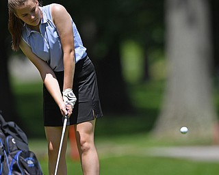 BOARDMAN, OHIO - JUNE 25, 2019: Laurel Zarbaugh, of Poland, chips onto the green on the 17th hole, Tuesday afternoon during the Vindy Greatest Golfer Qualifier at Mill Creek Golf Course. DAVID DERMER | THE VINDICATOR