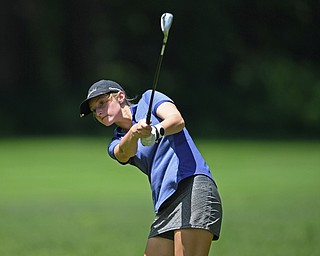 BOARDMAN, OHIO - JUNE 25, 2019: Haley Tison, of Canfield, watches her approach on the 17th hole, Tuesday afternoon during the Vindy Greatest Golfer Qualifier at Mill Creek Golf Course. DAVID DERMER | THE VINDICATOR
