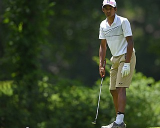 BOARDMAN, OHIO - JUNE 25, 2019: Sachin Nallapaneni, of Canfield, watches his putt on the 17th hole, Tuesday afternoon during the Vindy Greatest Golfer Qualifier at Mill Creek Golf Course. DAVID DERMER | THE VINDICATOR