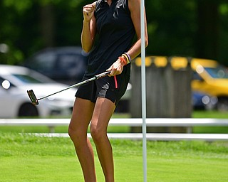 BOARDMAN, OHIO - JUNE 25, 2019: Sierra Richard, of Beaver Falls, Pennsylvania, reacts after sinking her putt on the 18th hole, Tuesday afternoon during the Vindy Greatest Golfer Qualifier at Mill Creek Golf Course. DAVID DERMER | THE VINDICATOR