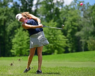 BOARDMAN, OHIO - JUNE 25, 2019: Jackie Adler, of Hubbard, watches her approach shot on the 18th hole, Tuesday afternoon during the Vindy Greatest Golfer Qualifier at Mill Creek Golf Course. DAVID DERMER | THE VINDICATOR