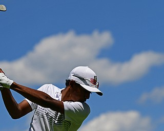 BOARDMAN, OHIO - JUNE 25, 2019: Sachin Nallapaneni, of Canfield, tees off on the 18th hole, Tuesday afternoon during the Vindy Greatest Golfer Qualifier at Mill Creek Golf Course. DAVID DERMER | THE VINDICATOR