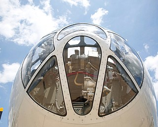 The bombardier of a B-29 was on display for people to look at and take pictures of at the Warren Regional Airport on Wednesday. The B-29 and an AT6 were at the airport for people to look at and learn about. EMILY MATTHEWS | THE VINDICATOR