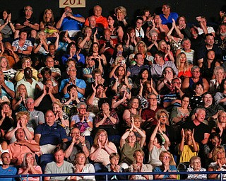 The crowd cheers as Lionel Richie performs at Covelli Centre on Saturday night as part of his Hello Tour. EMILY MATTHEWS | THE VINDICATOR