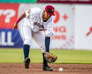DIANNA OATRIDGE   THE VINDICATOR Mahoning Valley third baseman Jonathan Lopez fields a ground ball during their game against Batavia at Eastwood Field on Saturday night.