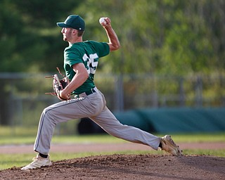 The Stark County Terriers' Aaron Miller pitches during their game against the Astro Falcons at Bob Cene Park on Sunday. EMILY MATTHEWS | THE VINDICATOR