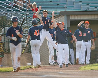 The Astro Falcons celebrate after scoring in the first inning of their game against the Stark County Terriers at Bob Cene Park on Sunday. EMILY MATTHEWS | THE VINDICATOR