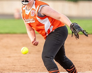 DIANNA OATRIDGE | THE VINDICATOR  Howland's Calleigh Luman fires a pitch during their game against Canfield in the 10U tournament in Boardman on Friday.
