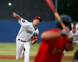 Scrappers' Liam Jenkins pitches against the Spikes at Eastwood Field on Saturday night. EMILY MATTHEWS | THE VINDICATOR