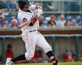 Scrappers' Bryan Lavastida hits the ball against the Spikes at Eastwood Field on Saturday night. EMILY MATTHEWS | THE VINDICATOR