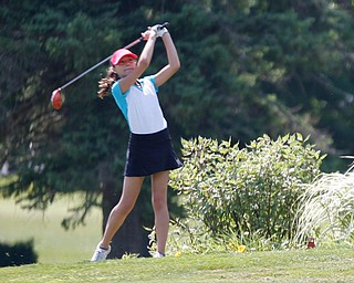 Chloe Leskovac, 11, of Canfield, drives the ball during the Greatest Golfer junior qualifier at Salem Hills Golf Club on Tuesday. EMILY MATTHEWS | THE VINDICATOR