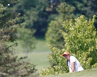 Sloan Rudivaugh, 17, of Salem, drives the ball during the Greatest Golfer junior qualifier at Salem Hills Golf Club on Tuesday. EMILY MATTHEWS | THE VINDICATOR