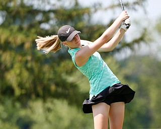 Mckenzie Gustus, 14, of Hermitage, hits the ball during the Greatest Golfer junior qualifier at Salem Hills Golf Club on Tuesday. EMILY MATTHEWS | THE VINDICATOR