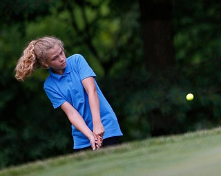 Kaitlyn Hoover, 13, of New Castle, hits the ball during the Greatest Golfer junior qualifier at Tam O'Shanter Golf Course in Hermitage, Pa. on Thursday. EMILY MATTHEWS | THE VINDICATOR