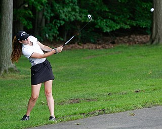 Eileen McHale, of Canfield, hits the ball during the Greatest Golfer Juniors U17 at Avalon Lakes Golf Course on Tuesday. EMILY MATTHEWS | THE VINDICATOR