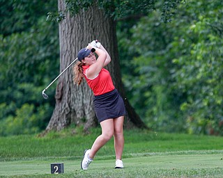 Hannah Ogden drives the ball in the U-17 Greatest Golfer Juniors finals at Squaw Creek Golf Course in Vienna on Friday. EMILY MATTHEWS | THE VINDICATOR