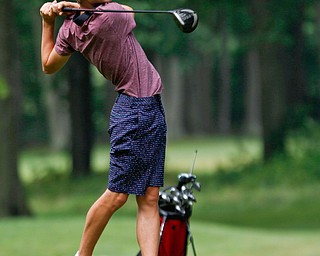Chris Loychik drives the ball in the U-17 Greatest Golfer Juniors finals at Squaw Creek Golf Course in Vienna on Friday. EMILY MATTHEWS | THE VINDICATOR