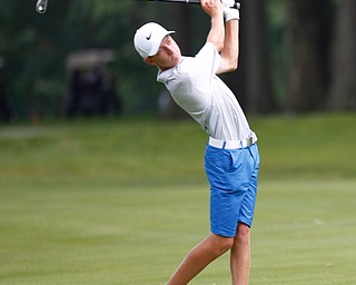 Brandon Gibson drives the ball in the U-17 Greatest Golfer Juniors finals at Squaw Creek Golf Course in Vienna on Friday. EMILY MATTHEWS | THE VINDICATOR