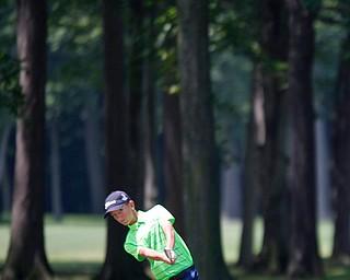 Matthew Morelli hits the ball during the Greatest Golfer Boys U14 championship at Avalon Lakes on Saturday. EMILY MATTHEWS   THE VINDICATOR