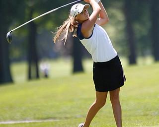 Jackie Adler drives the ball during the Greatest Golfer Girls U17 championship at Avalon Lakes on Saturday. EMILY MATTHEWS   THE VINDICATOR