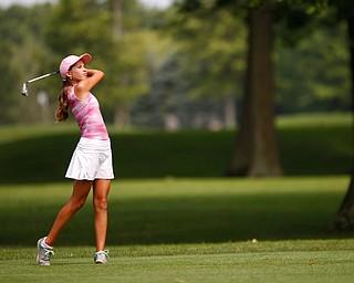 Alexandra Petrochko hits the ball during the Greatest Golfer Girls U14 championship at Avalon Lakes on Saturday. EMILY MATTHEWS   THE VINDICATOR