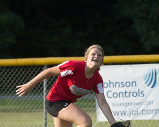 Alaina Frances runs up to catch a ball as she practices with her Canfield-Poland softball team, who will be playing in the Junior League Softball World Series in Washington on Sunday. EMILY MATTHEWS   THE VINDICATOR