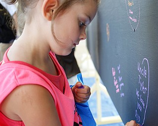 Payge Humphreys, 6, of Canfield, draws a heart around a message for her uncle Tyler, who passed away from a drug overdose, on a blackboard filled with written messages stating why people walk in the Warren Walk Against Heroin at the Warren Amphitheater on Sunday. EMILY MATTHEWS | THE VINDICATOR