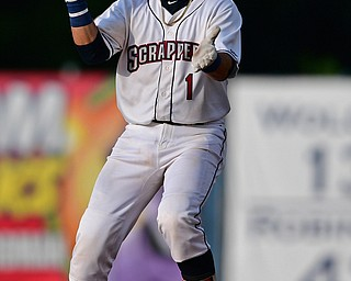 NILES, OHIO - JULY 30, 2019: Scrappers' Bryan Lavastida celebrates after hitting a double in the first inning of their game, Tuesday night at Eastwood Field. DAVID DERMER | THE VINDICATOR