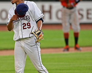 NILES, OHIO - JULY 30, 2019: Scrappers starting pitcher Carlos Vargas reacts after striking out Aberdeen's Kyle Stowers in the fourth inning of their game, Tuesday night at Eastwood Field. DAVID DERMER | THE VINDICATOR