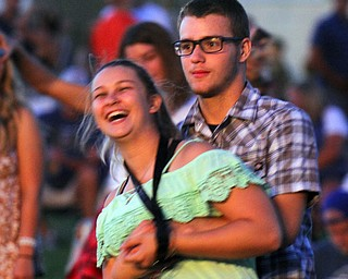 William D. Lewis the vindicator Nancy Wolfe of Champion and Lukas Hilliard of Middlefield were part of large crowd on hand for Brett Eldredge concert at Youngstown Amphitheater 8-2-19.