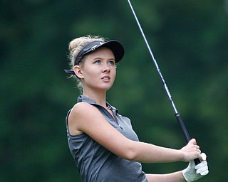 Jenna Jacobson watches her drive during the Greatest Golfer of the Valley tournament at Mill Creek Golf Course on Friday. EMILY MATTHEWS | THE VINDICATOR