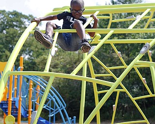 Emmanuel Robinson, 7, of the East Side, plays on a jungle gym at the new playground at Lincoln Knolls Community Park on Saturday.  EMILY MATTHEWS | THE VINDICATOR