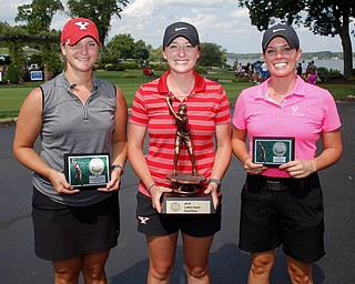 Women's Open Division first place finisher Emily Robertson, center, with a final score of 216, second place finisher Angela Molaskey, left, with a final score of 231, and third place finisher Katie Rogner, with a final score of 232. EMILY MATTHEWS | THE VINDICATOR