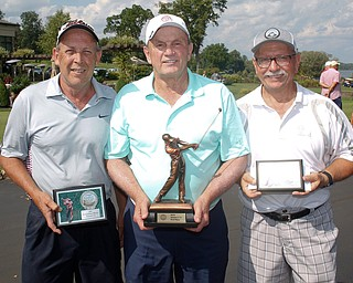 Seniors 7-11 Handicap Division first place finisher Chuck Montgomery, center, with a final score of 224, second place finisher Brad Mcderitt, left, with a final score of 227, and third place finisher Rocco Gennaro, with a final score of 231. EMILY MATTHEWS | THE VINDICATOR