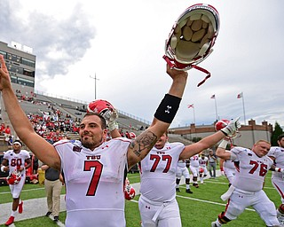 MONTGOMERY, ALABAMA - AUGUST 24, 2019: Youngstown State's Nathan Mays celebrates after defatting Samford, Saturday afternoon. DAVID DERMER | THE VINDICATOR