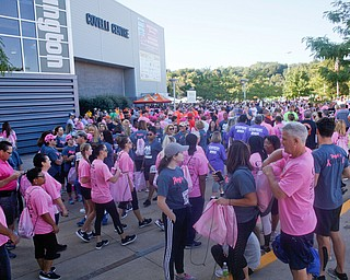 People gather outside the Covelli Centre before the start of the 2019 Panerathon on Sunday morning. EMILY MATTHEWS | THE VINDICATOR