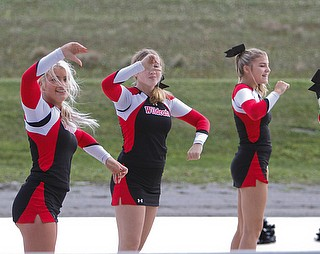 ROBERT K.YOSAY  | THE VINDICATOR..The 173rd version of the Canfield Fair opened Wednesday to mid 70 degrees, sun, and fries and sausage sandwiches...Cheerleaders from Struthers  High school part of the Cheerleading demonstration at the fair on Wednesday at the grandstand