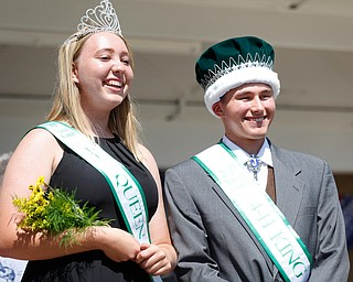 Natalia Kresic this year's 4-H queen, and James Moore, this year's 4-H king, pose for a photo during the Mahoning County Junior Fair Youth Day Ceremony on Thursday. EMILY MATTHEWS | THE VINDICATOR